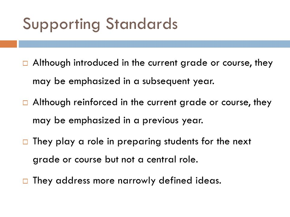 Supporting Standards Although introduced in the current grade or course, they may be emphasized in a subsequent year.