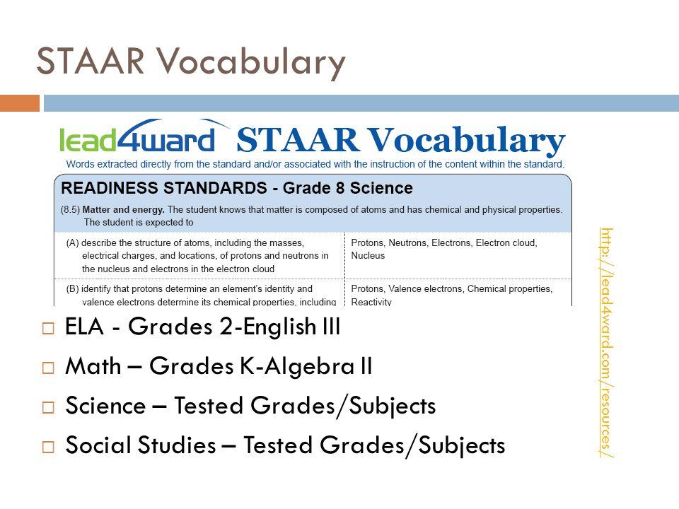 STAAR Vocabulary ELA - Grades 2-English III Math – Grades K-Algebra II