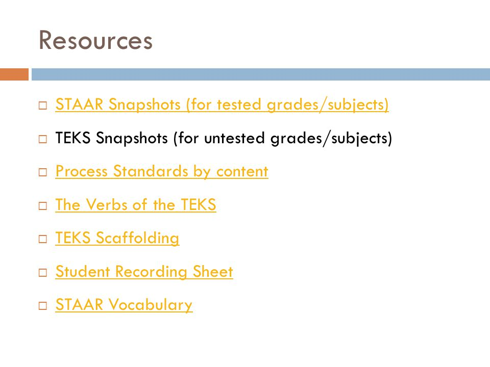 Resources STAAR Snapshots (for tested grades/subjects)