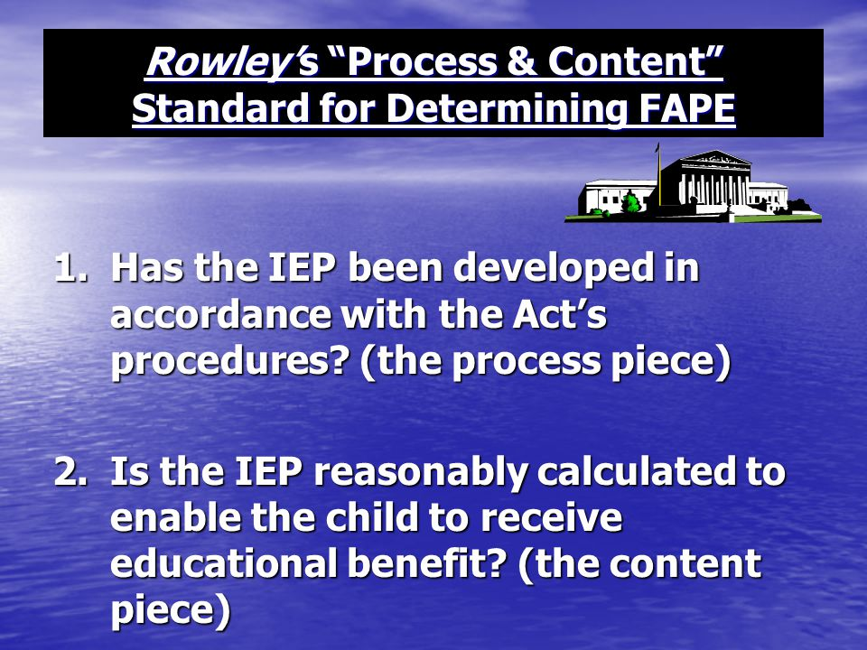Rowley's Process & Content Standard for Determining FAPE