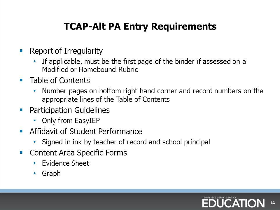 TCAP-Alt PA Entry Requirements