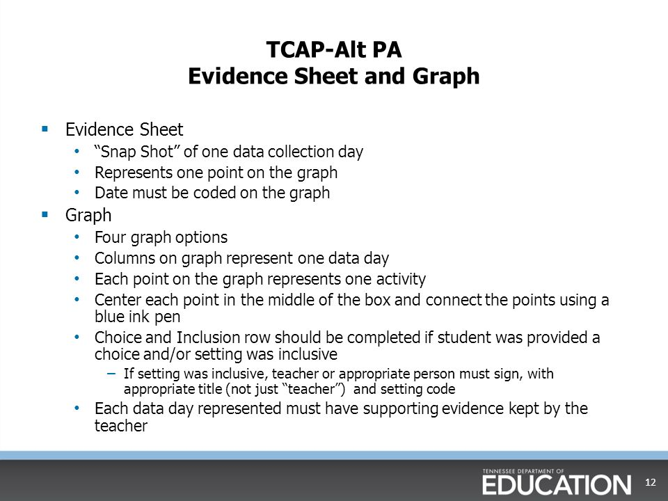 TCAP-Alt PA Evidence Sheet and Graph