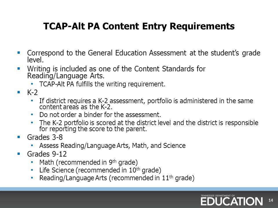 TCAP-Alt PA Content Entry Requirements