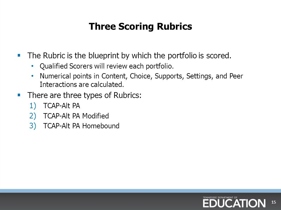 Three Scoring Rubrics The Rubric is the blueprint by which the portfolio is scored. Qualified Scorers will review each portfolio.