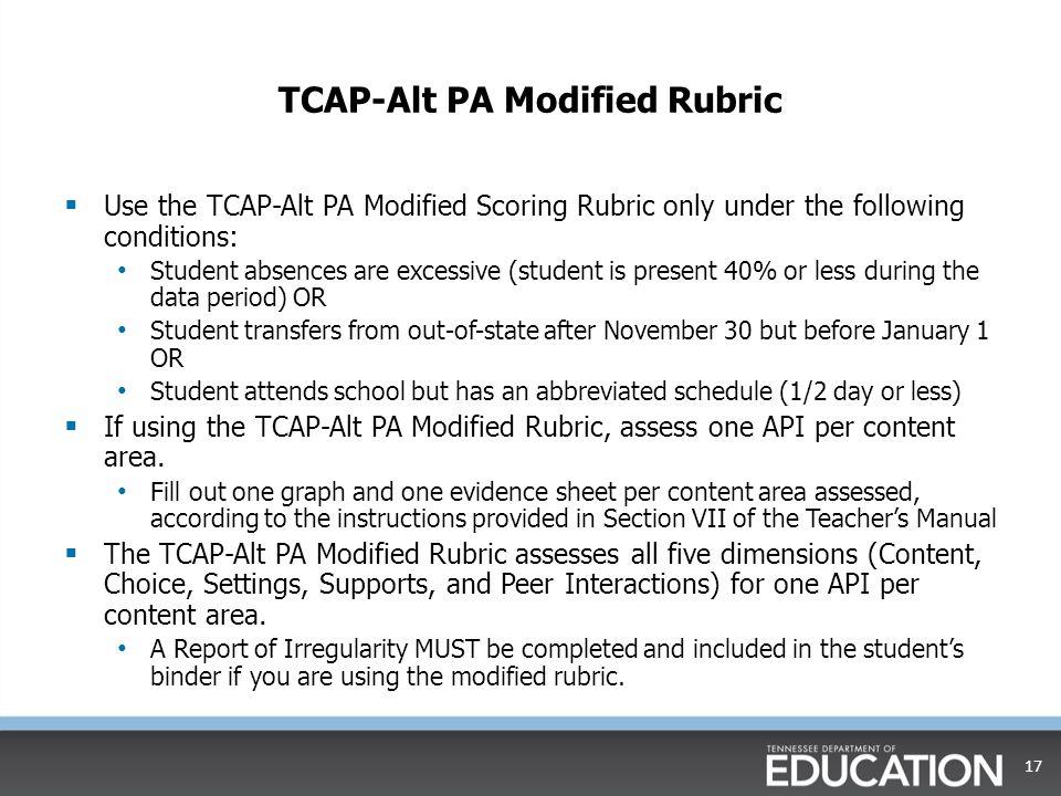 TCAP-Alt PA Modified Rubric