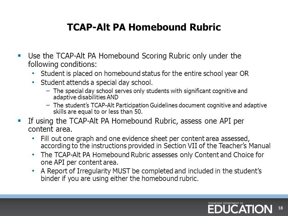 TCAP-Alt PA Homebound Rubric