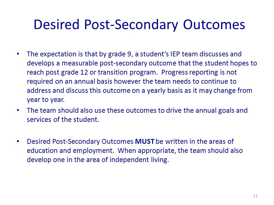 Desired Post-Secondary Outcomes