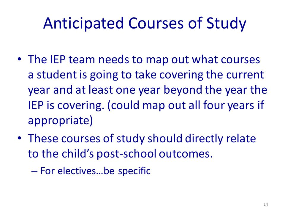 Anticipated Courses of Study