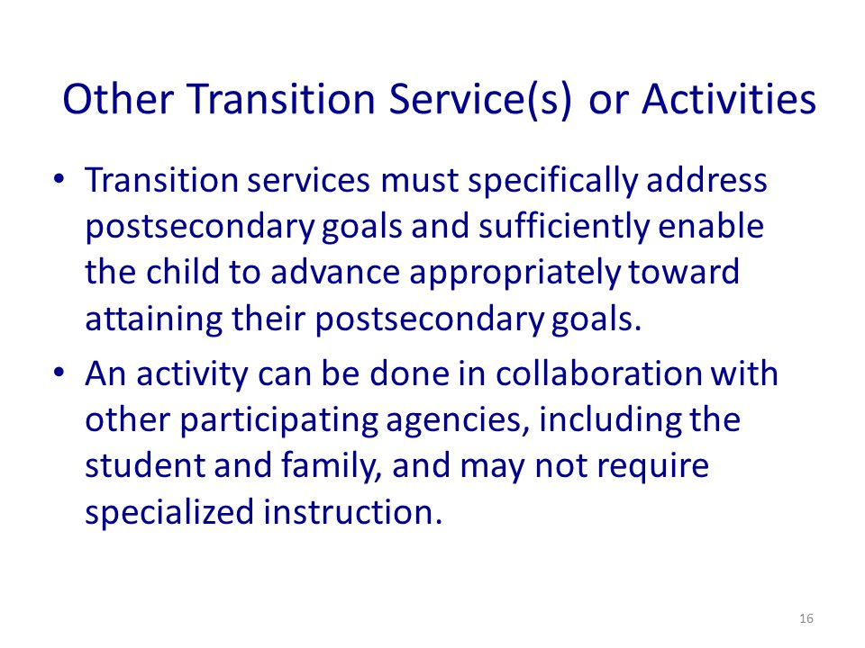 Other Transition Service(s) or Activities