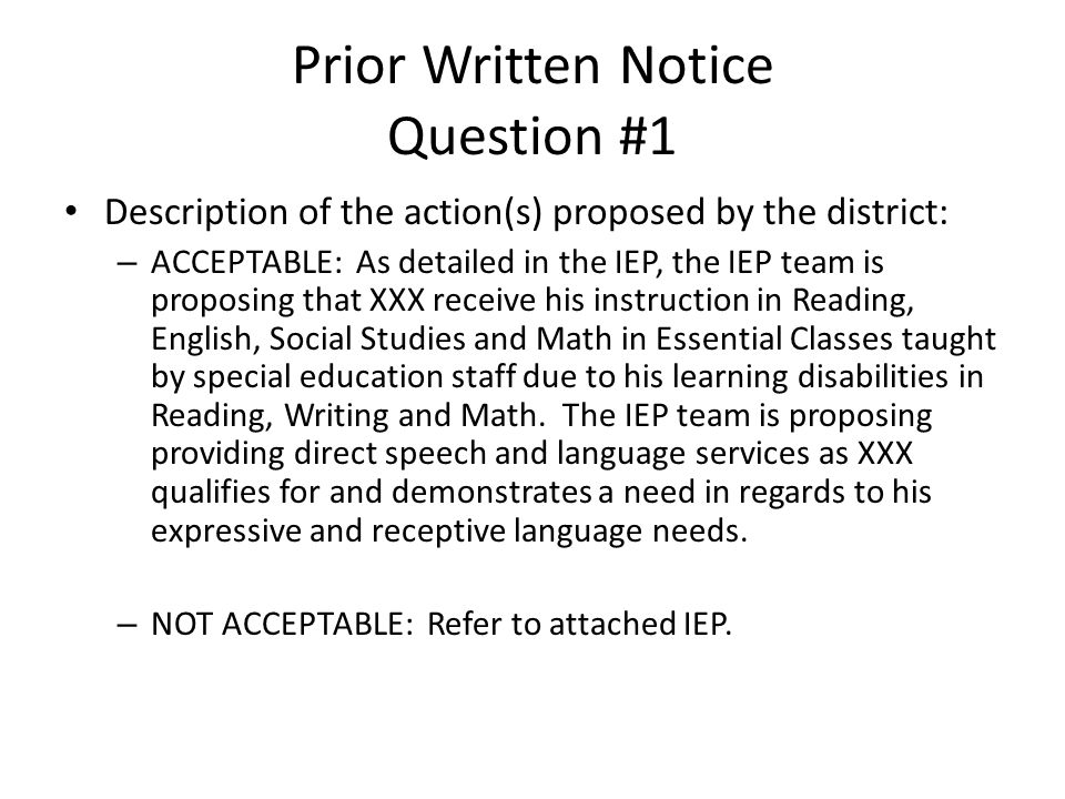 Prior Written Notice Question #1