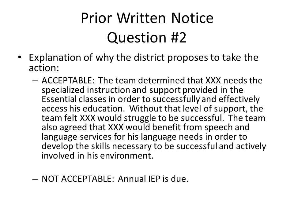 Prior Written Notice Question #2