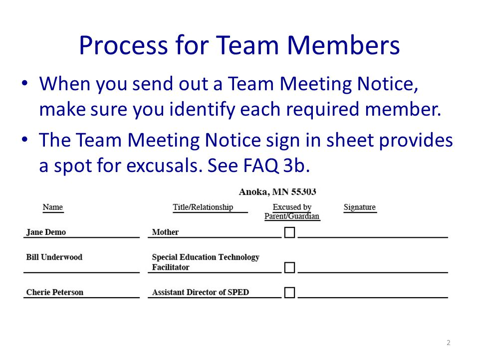 Process for Team Members