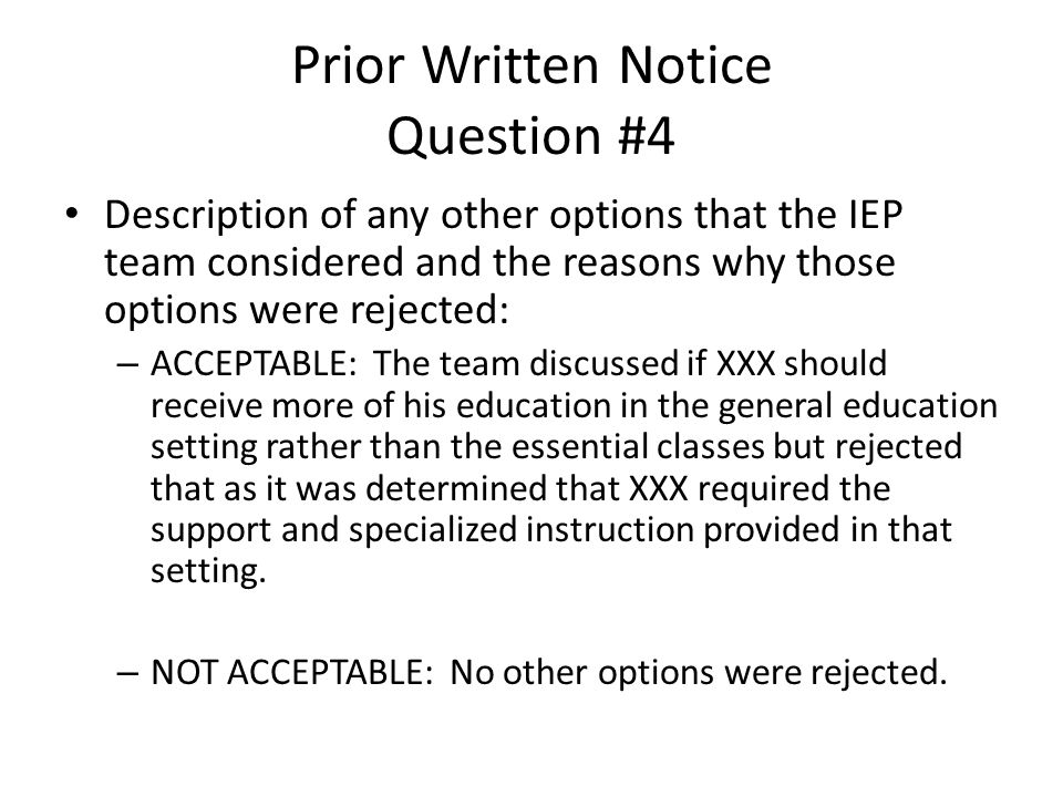 Prior Written Notice Question #4