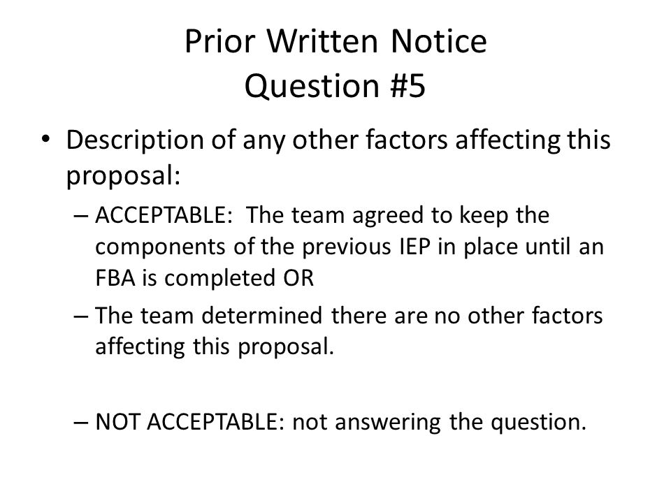 Prior Written Notice Question #5