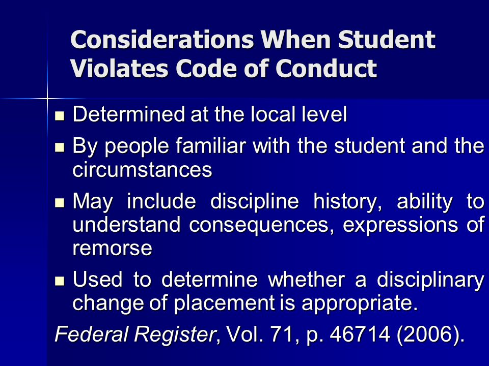 Considerations When Student Violates Code of Conduct
