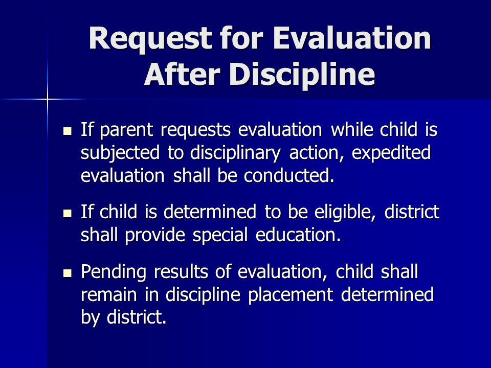Request for Evaluation After Discipline