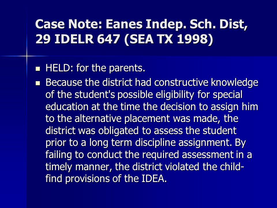 Case Note: Eanes Indep. Sch. Dist, 29 IDELR 647 (SEA TX 1998)