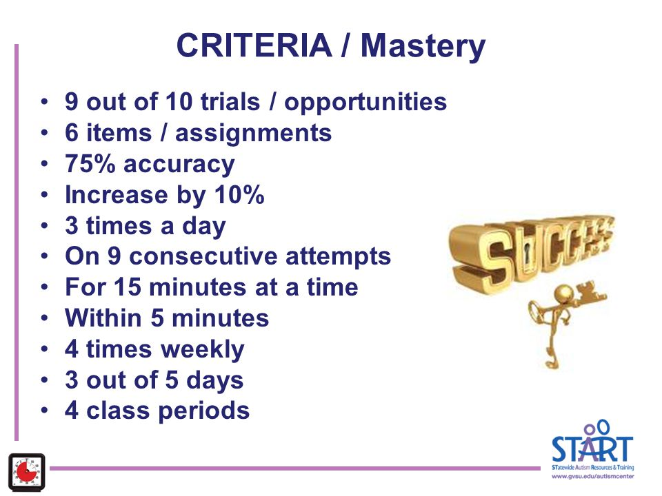 CRITERIA / Mastery 9 out of 10 trials / opportunities