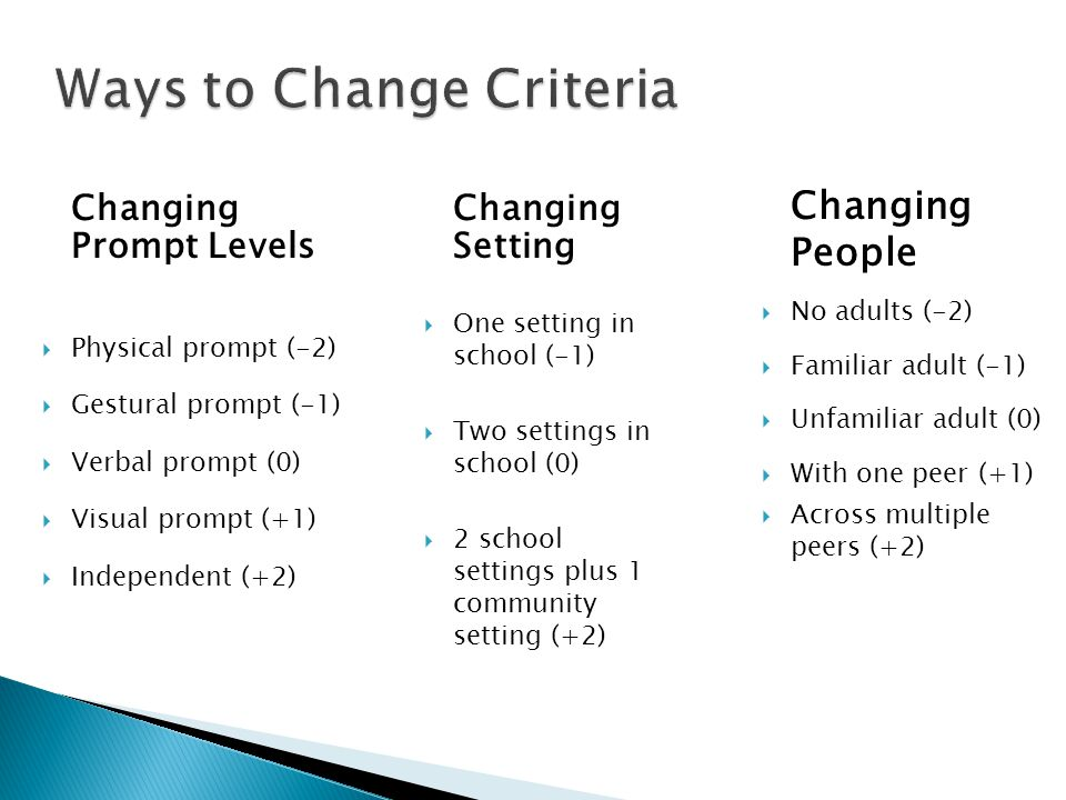 Ways to Change Criteria