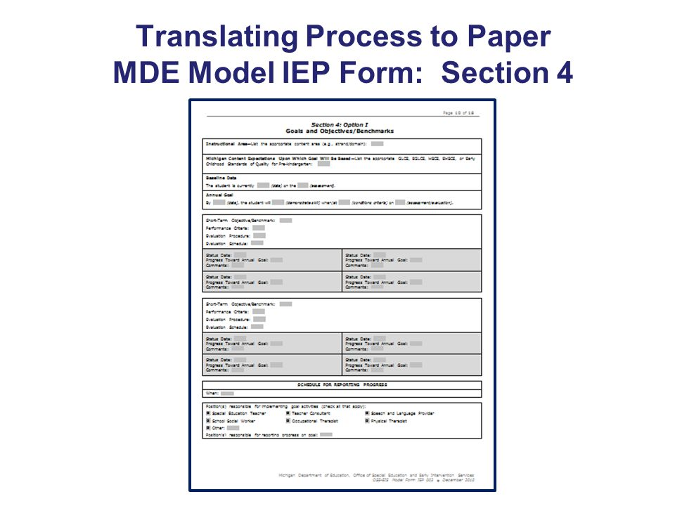 Translating Process to Paper MDE Model IEP Form: Section 4