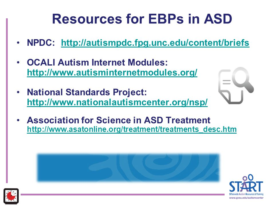 Resources for EBPs in ASD