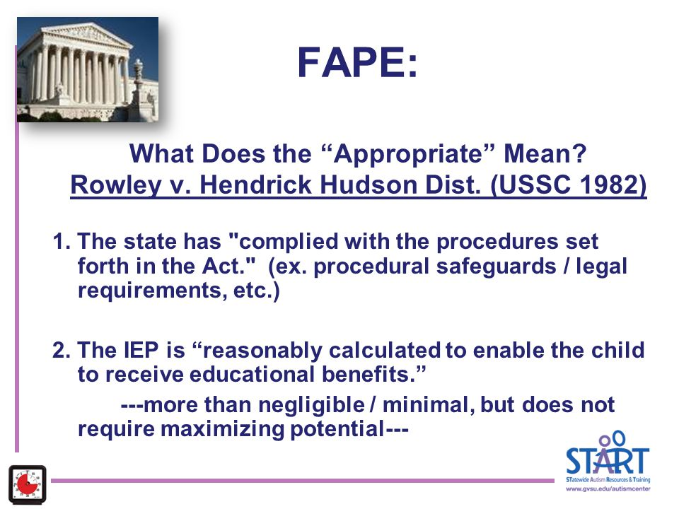 FAPE: What Does the Appropriate Mean. Rowley v. Hendrick Hudson Dist