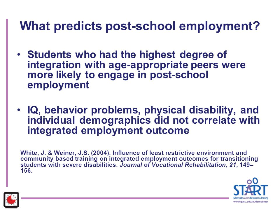 What predicts post-school employment