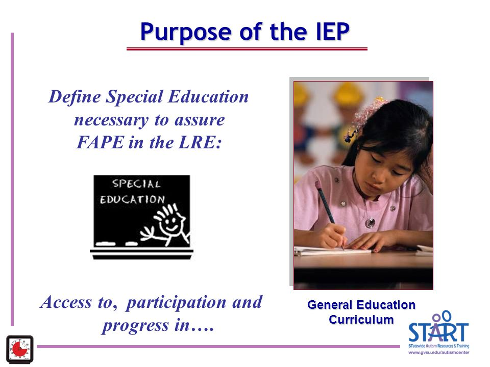 Purpose of the IEP Define Special Education necessary to assure