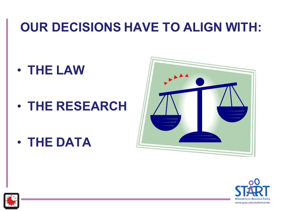OUR DECISIONS HAVE TO ALIGN WITH: