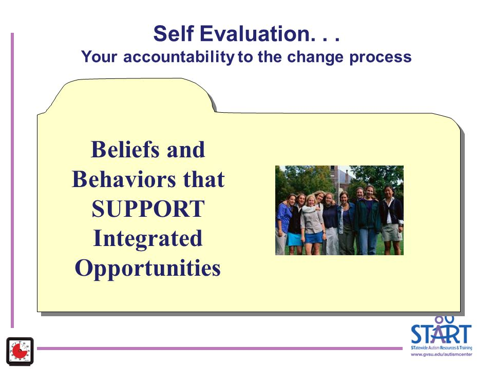 Self Evaluation. . . Your accountability to the change process