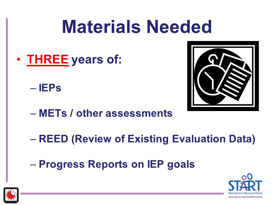Materials Needed THREE years of: IEPs METs / other assessments