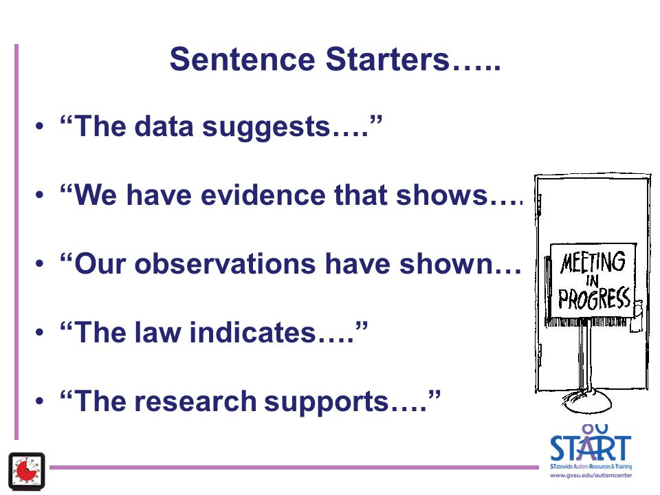 Sentence Starters….. The data suggests….