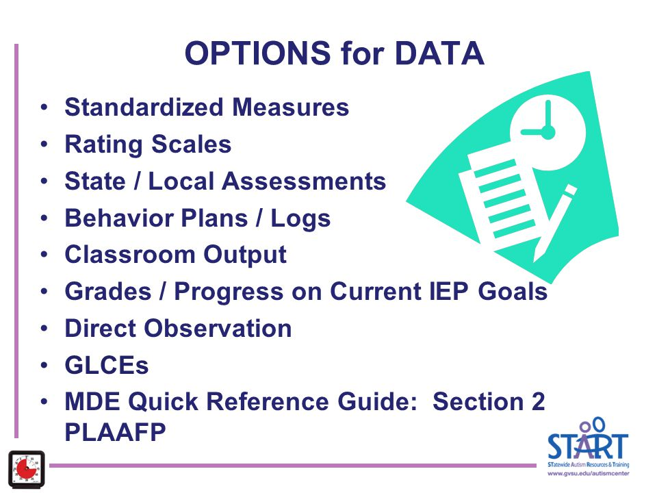 OPTIONS for DATA Standardized Measures Rating Scales