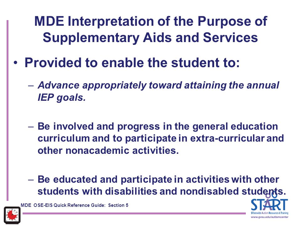MDE Interpretation of the Purpose of Supplementary Aids and Services