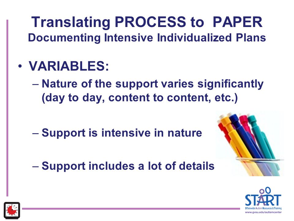 Translating PROCESS to PAPER Documenting Intensive Individualized Plans