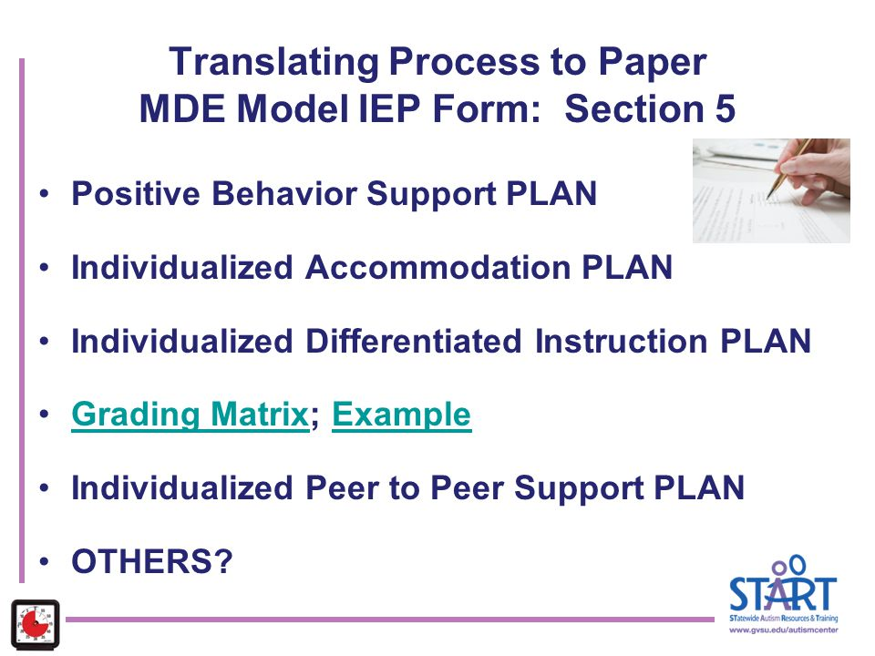 Translating Process to Paper MDE Model IEP Form: Section 5