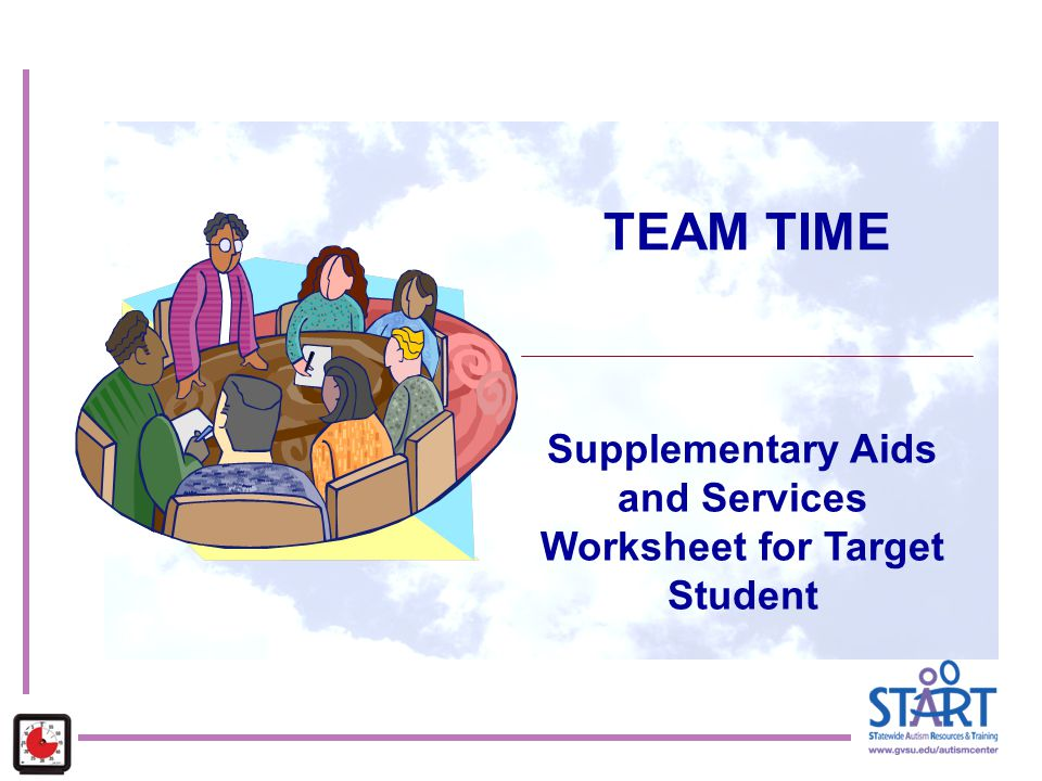Supplementary Aids and Services Worksheet for Target Student