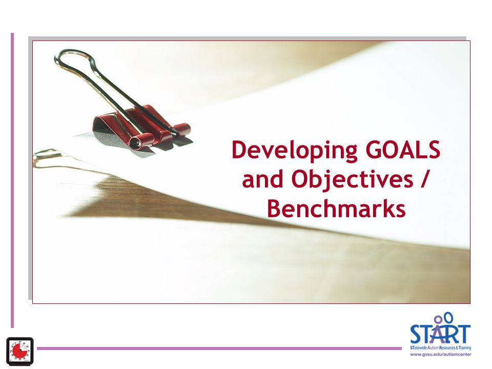 Developing GOALS and Objectives / Benchmarks