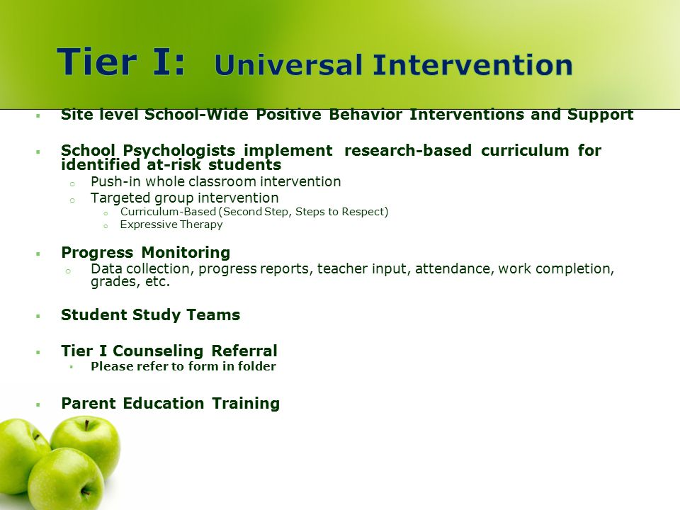 Tier I: Universal Intervention