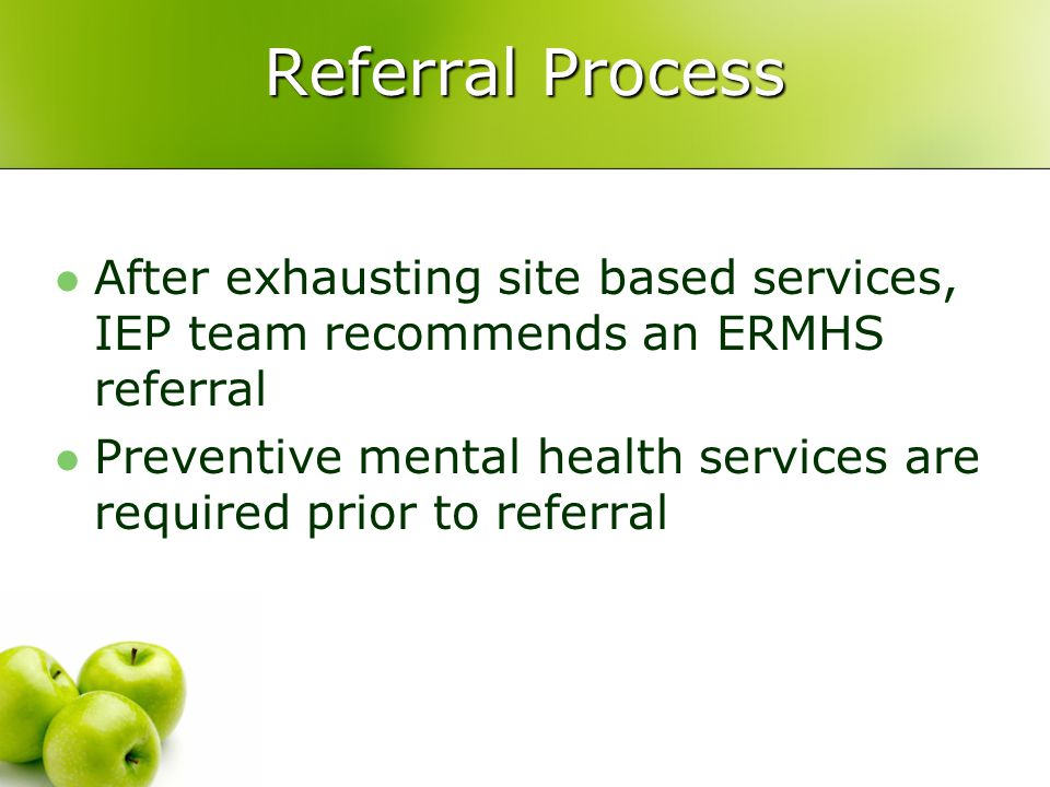 Referral Process After exhausting site based services, IEP team recommends an ERMHS referral.