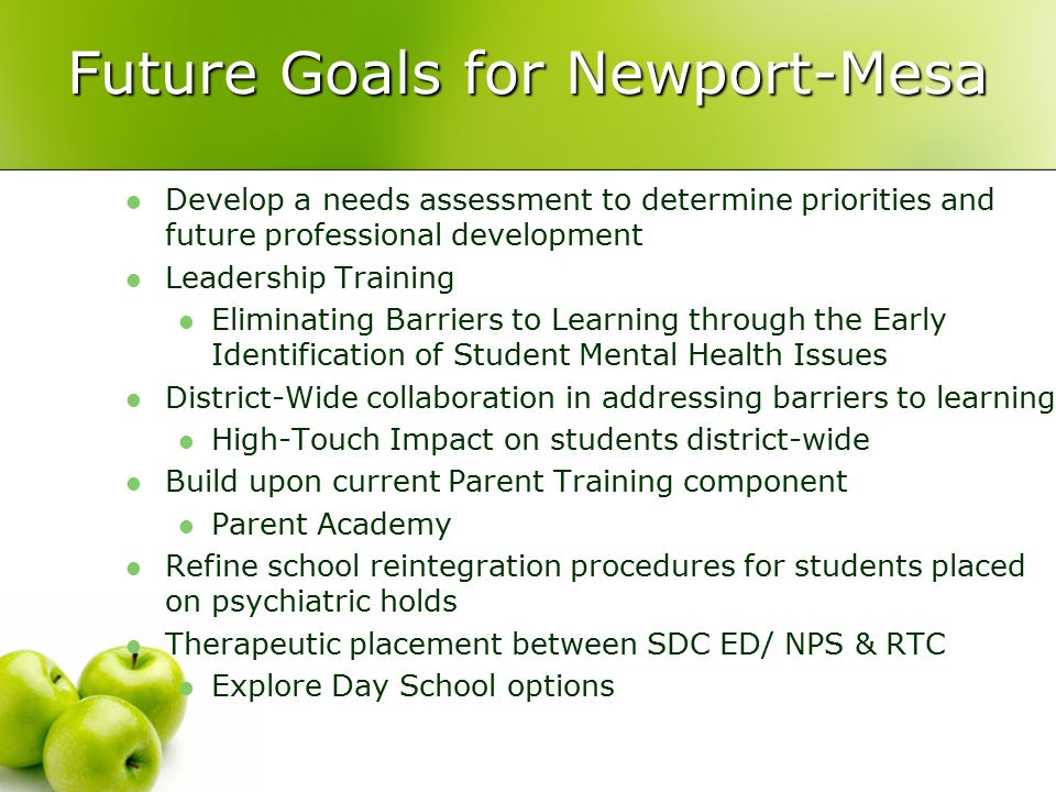 Future Goals for Newport-Mesa