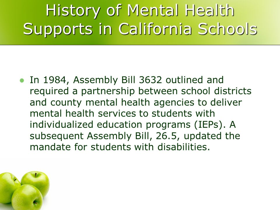 History of Mental Health Supports in California Schools