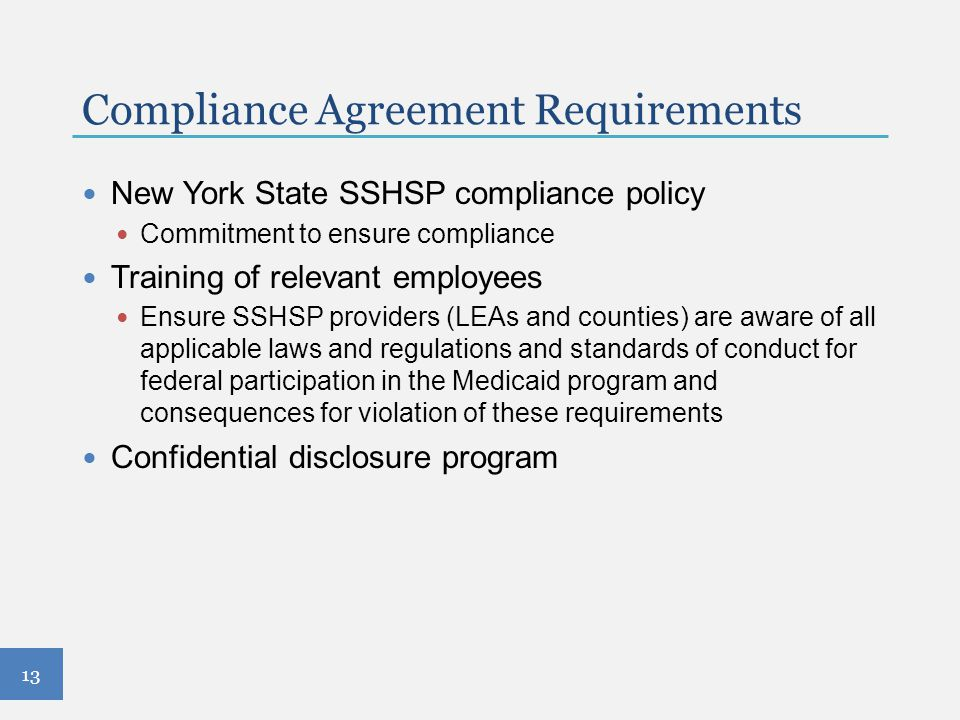 Compliance Agreement Requirements