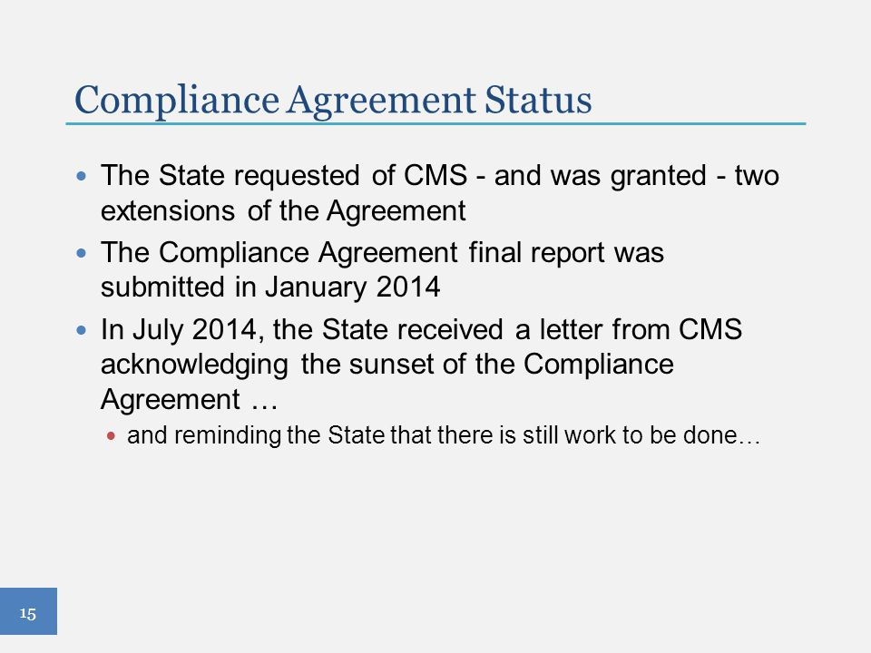 Compliance Agreement Status