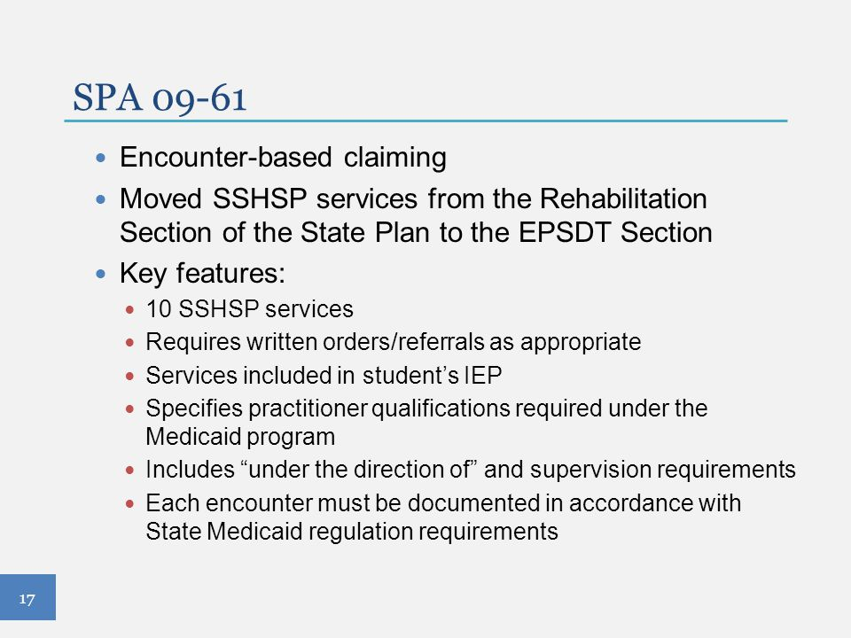 SPA 09-61 Encounter-based claiming