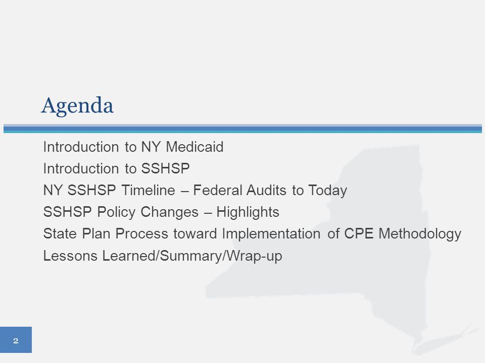 Agenda Introduction to NY Medicaid Introduction to SSHSP