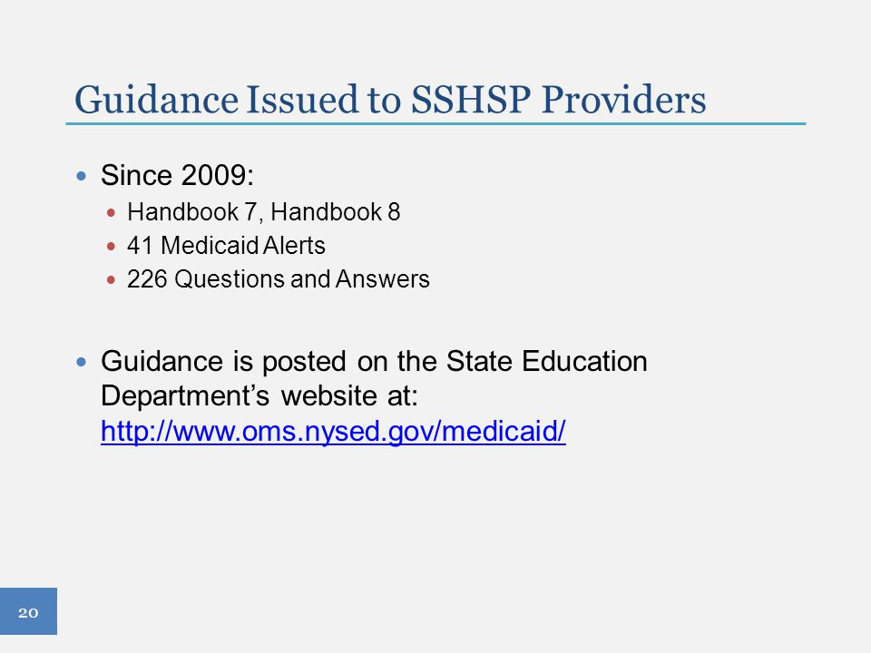 Guidance Issued to SSHSP Providers