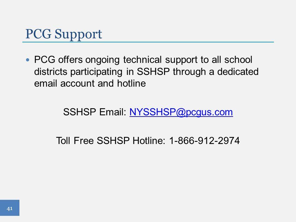 Toll Free SSHSP Hotline: 1-866-912-2974