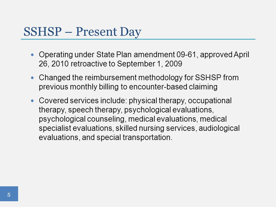 SSHSP – Present Day Operating under State Plan amendment 09-61, approved April 26, 2010 retroactive to September 1, 2009.