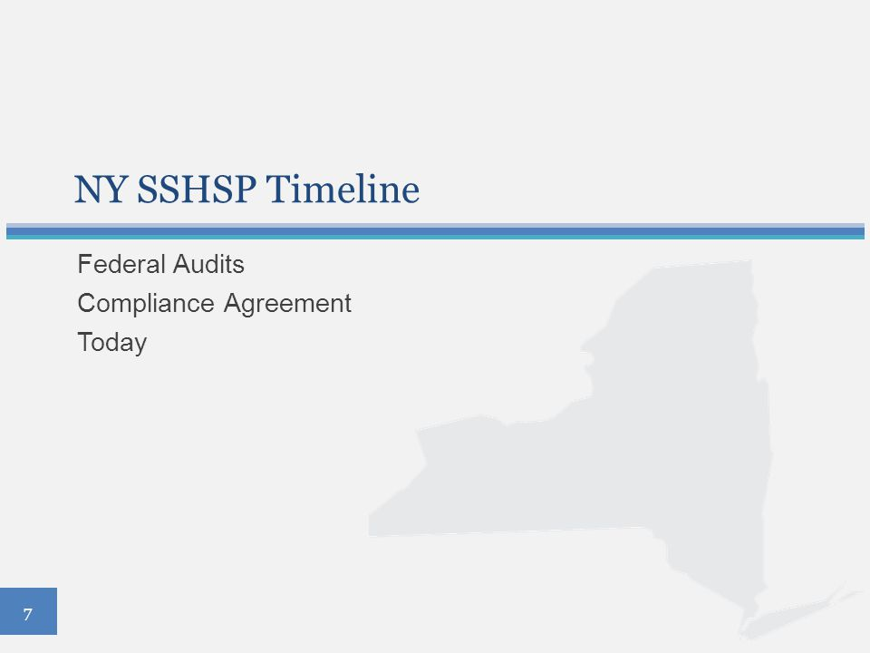 NY SSHSP Timeline Federal Audits Compliance Agreement Today